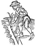 FWT Parma Woodcut-Medieval-Man-Using-A-Hoe-And-Planting-A-Garden